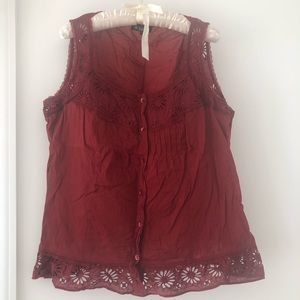 ISABEL MARANT deep red embroidered tank top